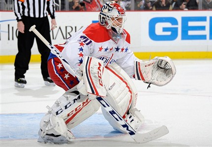 Braden Holtby stopped shots to earn his second shutout against the Jets in Winnipeg. photo by Joe Sargent/ Getty Images