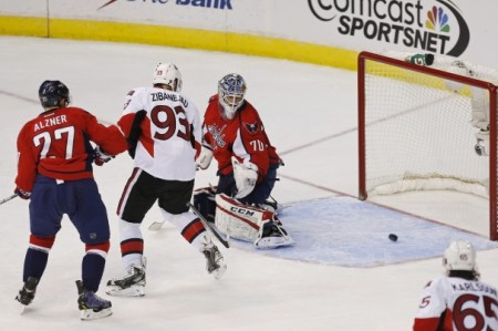 Mika Zabanejad puts the puck past Braden Holtby as the Senators beat the Capitals, 6-4. photo by Geoff Burke/ USA Today Sports