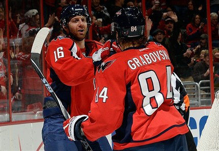 Eric Fehr and Mikail Grabovski celebrate Grabovski's goal. Both players had a goal and a helper each as the Capitals defeated the Habs 3-2 in a shootout. photo by Patrick McDermott NHLI via Getty Images