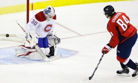 Mikhail Grabovski beat Peter Budaj in the shootout as the Capitals defeated the Canadiens, 3-2. photo by Carolyn Kaster, AP