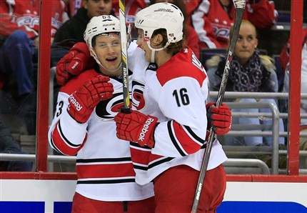 Jeff Skinner and Elias Lindholm celebrate a goal. Skinner had three point as the Hurricanes beat the Capitals, 4-1. photo by Rob Carr/ Getty Images
