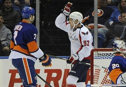 Rookie Evgeny Kuznetsov celebrates his goal in the 1st period. He also had the shootout winner as the Capitals defeated the Islanders 4-3. photo by the Canadian Press